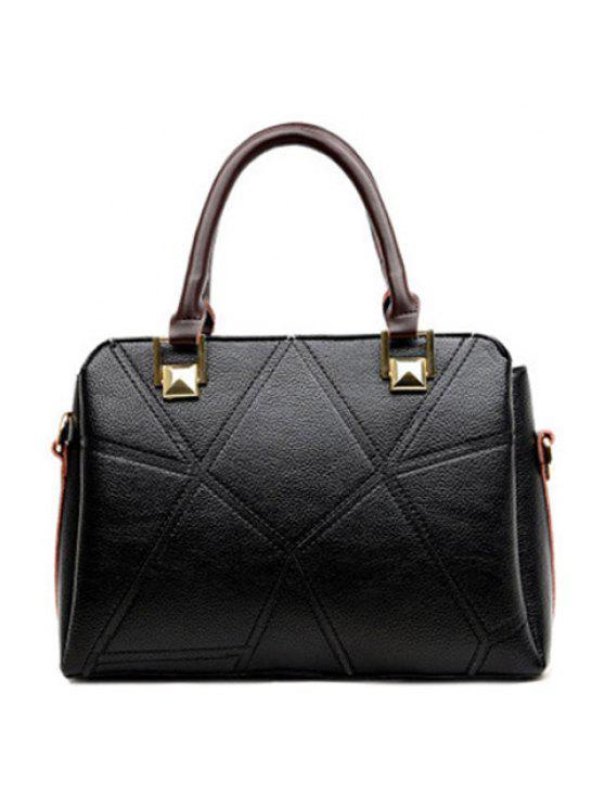 Bolso de Mano Geométrico Empalme Color y Costuras - Negro