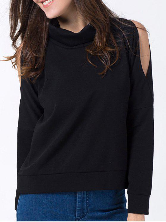 latest Turtle Neck Cold Shoulder Sweatshirt - BLACK M