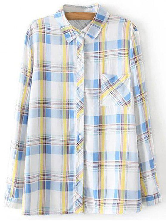 trendy Boyfriend Button Up Pocket Plaid Shirt - LIGHT BLUE M