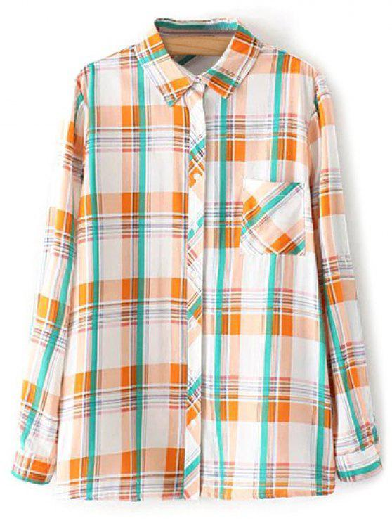 unique Boyfriend Button Up Pocket Plaid Shirt - ORANGE L