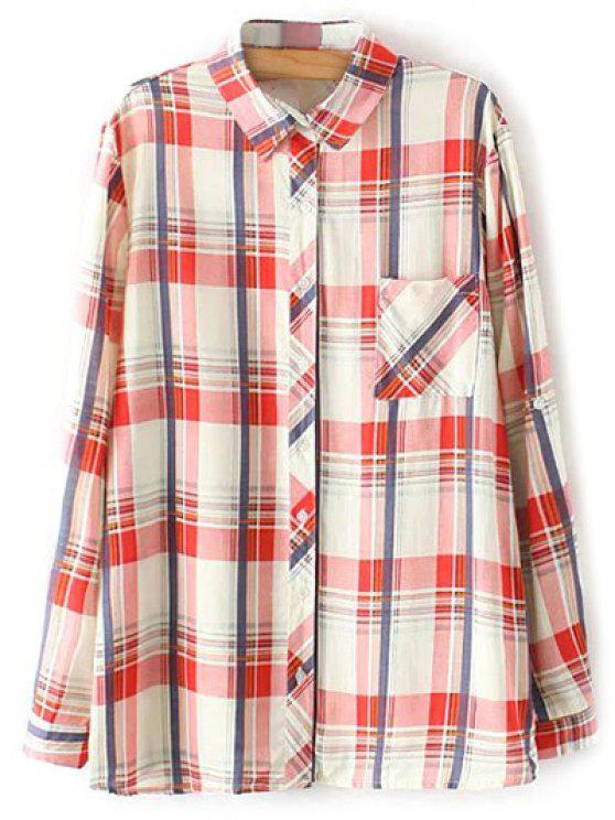 women Boyfriend Button Up Pocket Plaid Shirt - RED L
