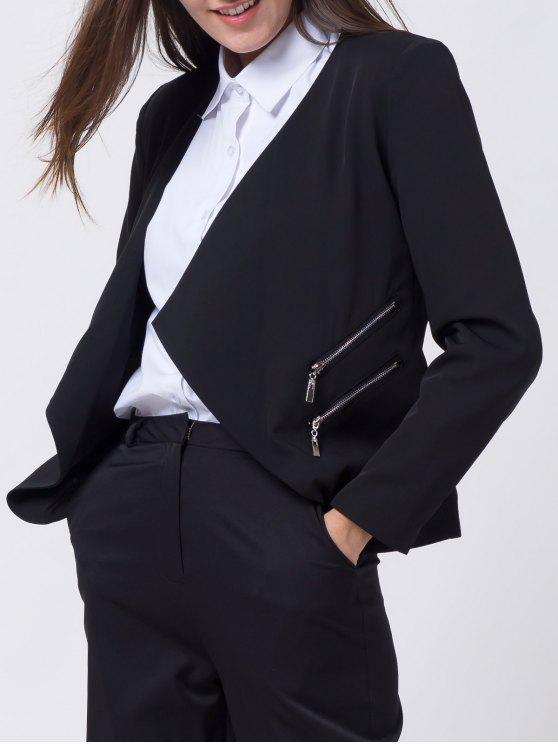 Open Front Draped Zipper Blazer - Black