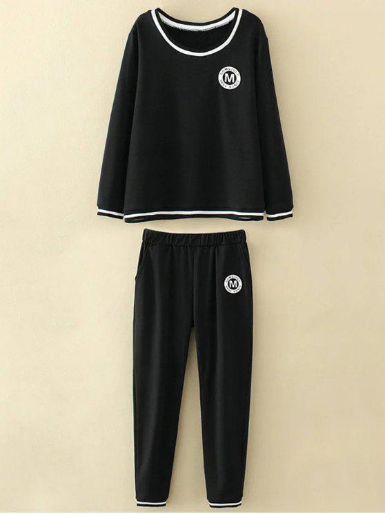 Tamaño más apliques tapa y los pantalones - Negro 2XL