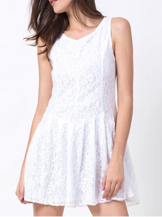 بلا أكمام الدانتيل البسيطة اللباس - أبيض S
