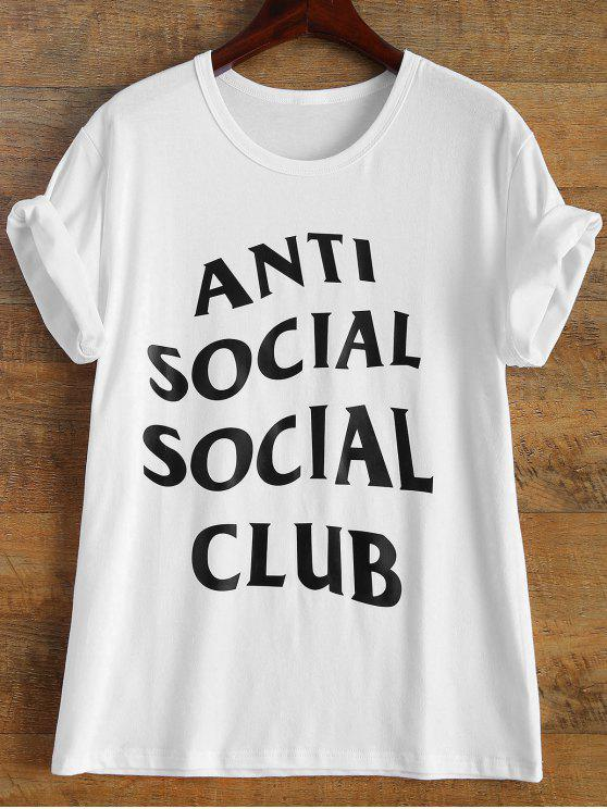 online Short Sleeve Anti Social Graphic Tee - WHITE 2XL