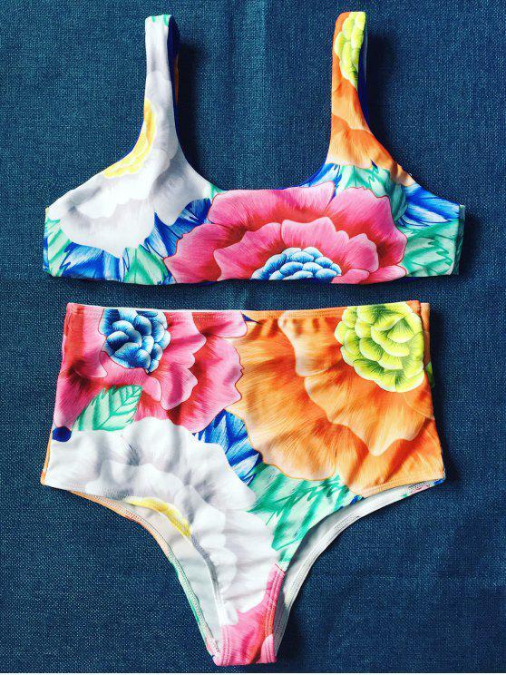 Alta subida del bikini de cuello u floral - Floral M