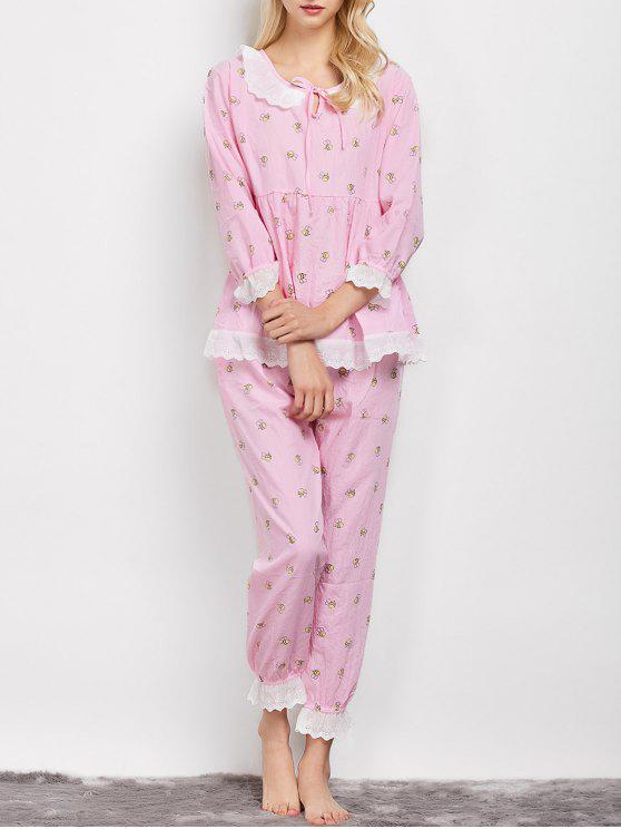 unique Printed Smock Top and Pants Pajama - PINK XL