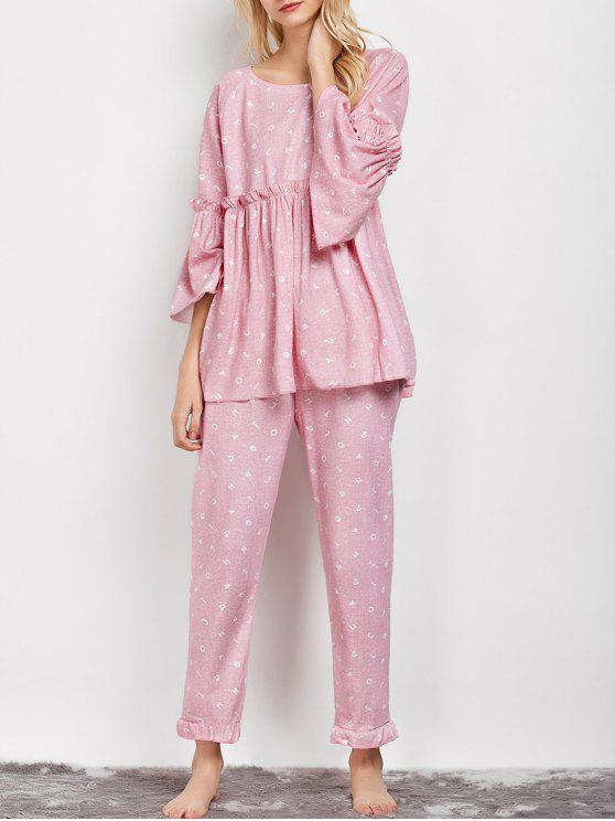 outfit Letter Ruffles Smock Top and Pants Pajama - PINK L