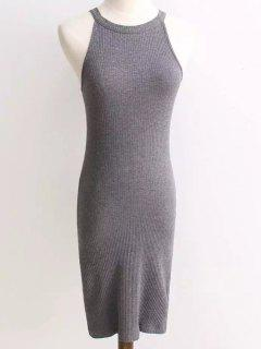Ribbed Sleeveless Knitted Bodycon Dress - Gray