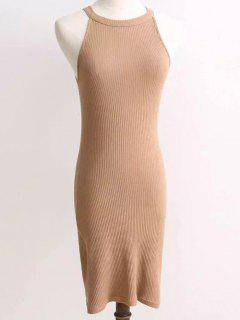 Ribbed Sleeveless Knitted Bodycon Dress - Camel