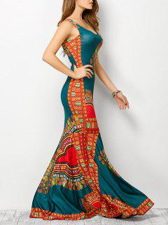 Vestido Diseño Impreso Bohemio Tribal - Lago Azul L