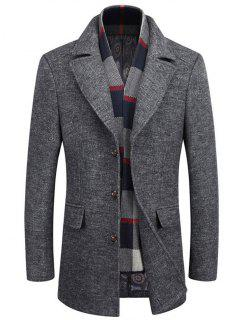 Lapel Buttoned Marled Coat With Scarf - Gray L