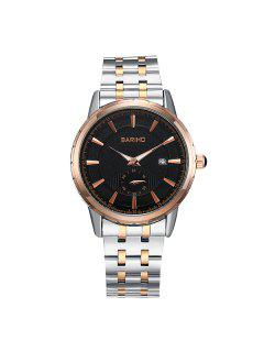 Stainless Steel Analog Business Watch - Rose Gold+grey