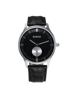 Quartz Artificial Leather Casual Watch - Black