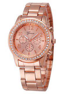 Rhinestone Metal Analog Wrist Watch - Rose Gold