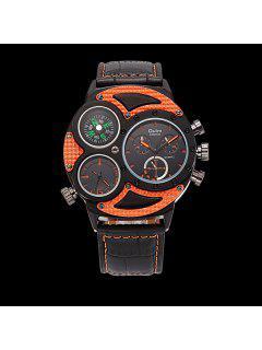 Big Dial Watch With PU Leather Watchband - Orange