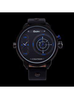 PU Leather Watchband Big Dial Watch - Blue