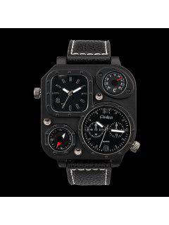 Reloj Análogo De Cuarzo Con Correa De Cuero Artificial - Negro