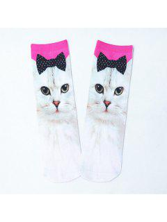Bowknot Cat 3D Printed Crazy Socks - White