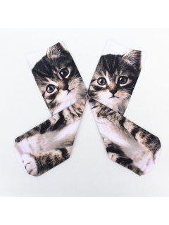 Little Cat 3D Printed Crazy Socks - Deep Gray