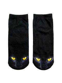 3D Black Cat Printed Crazy  Ankle Socks - Black