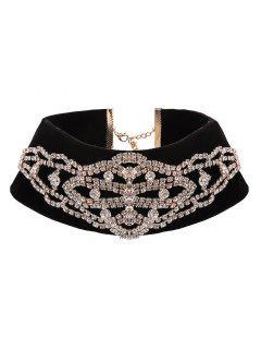 Rhinestone Velvet Fake Collar Necklace - Golden