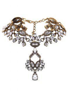 Collar Llamativo Ahuecado Diseño Pendiente Imitación Diamantes - Dorado