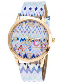 Wave Print Letter Quartz Watch - White