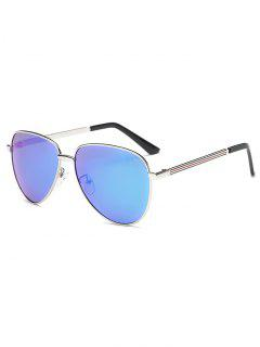 Stripy Leg Metal Mirrored Pilot Sunglasses - Ice Blue