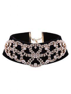 Rhinestone Flannel Fake Collar Necklace - Golden