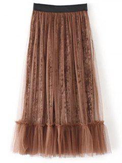 Mesh A Line Tea Length Skirt - Coffee