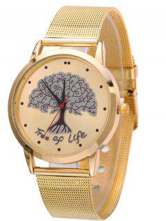 Mesh Band Tree Of Life Analog Watch - Golden