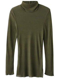 Funnel Neck Fitted Side Slit T-Shirt - Army Green S