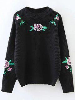 Chunky Embroidered Oversized Sweater - Black