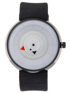 Silicone Number Turntable Watch - White