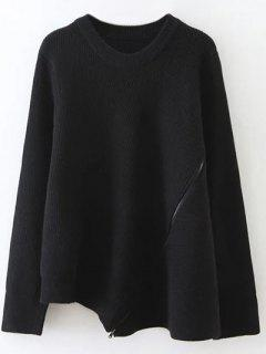 Asymmetric Zipped Hem Swing Sweater - Black