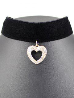 Hollow Out Heart Velvet Choker - Black