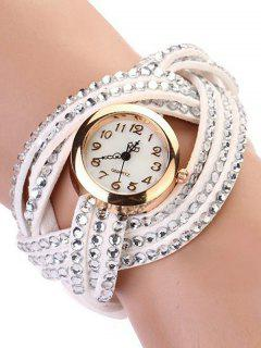 Rhinestone Number Twist Bracelet Watch - White