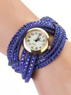 Rhinestone Number Twist Bracelet Watch - Blue