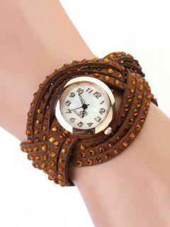 Rhinestone Number Twist Bracelet Watch - Brown