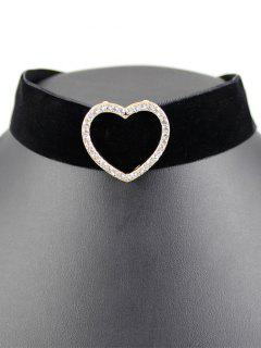 Heart Velvet Wide Choker - Black