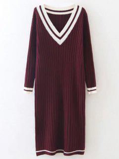 Straight Midi Jumper Dress - Burgundy