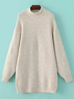 Funnel Neck Oversized Sweater Dress - Off-white S