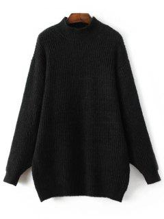 Col Cheminée Pull Oversize Robe - Noir M