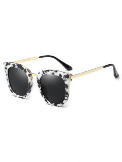 Cow Pattern Butterfly Frame Oversized Sunglasses - White And Black