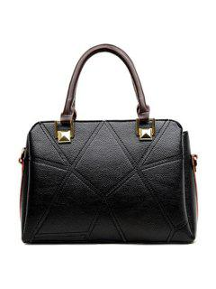 Geometric Pattern Colour Spliced Stitching Tote Bag - Black