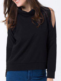 Turtle Neck Cold Shoulder Sweatshirt - Black Xs