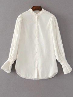 Frilled Sleeve Button Up Chiffon Blouse - White M