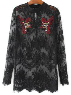 Birds Embroidered Lace Top - Black M