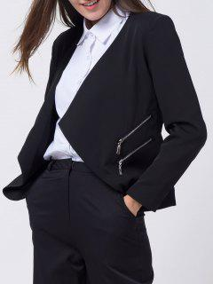 Open Front Draped Zipper Blazer - Black Xs